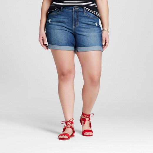 women's plus size cuffed short blue - earl jean : target | clothes