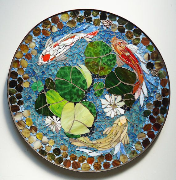 Mosaic table koi fish art stained glass mosaic art for Round koi pond design