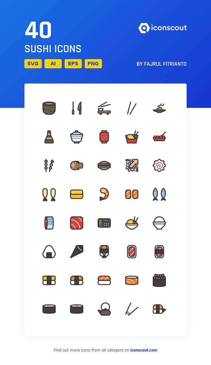 Download Sushi Feast (Filled) Icon pack Available in SVG