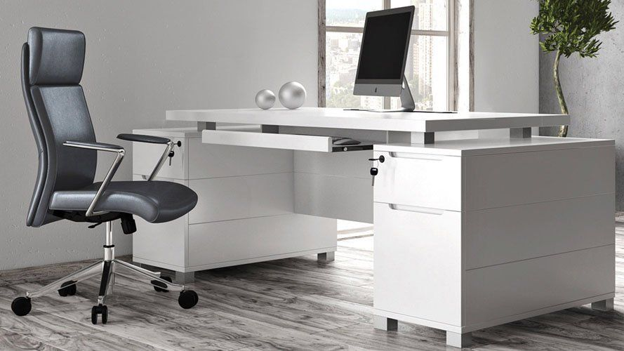 Ford Executive Modern Desk With Filing Cabinets White Matte Finish Zuri Furniture White Desks White Executive Desk Office Furniture Design