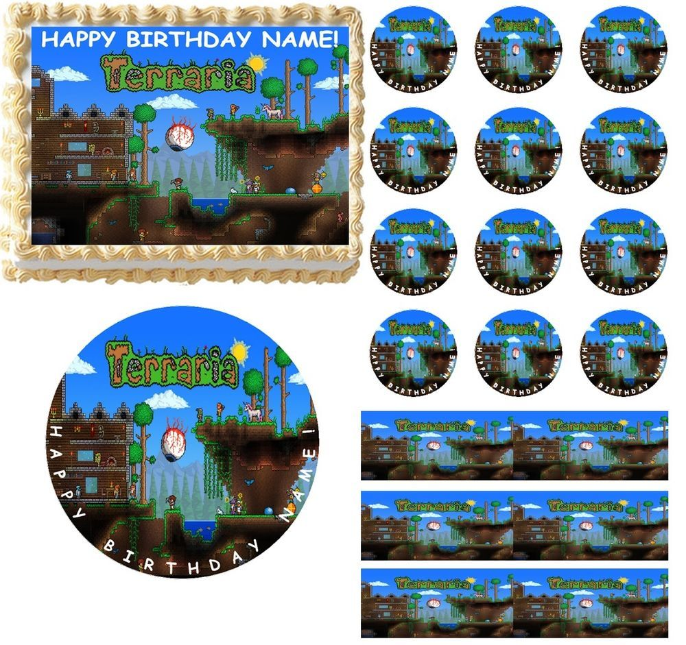 TERRARIA Party Edible Cake Topper Image Toppers Cupcakes or Sides Decoration #ProfessionalBakeryQuality