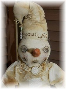Primitive Holiday Winter Snow Girl Snowflake Season Doll by Mustard Seed Origs