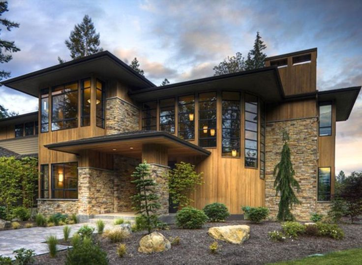 Modern stone exterior homes google search residential for Stone and wood house plans