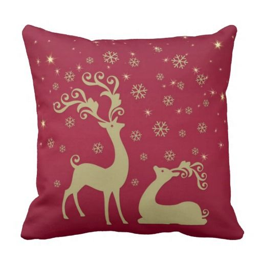 Red, gold and green Christmas reindeer Throw Pillow