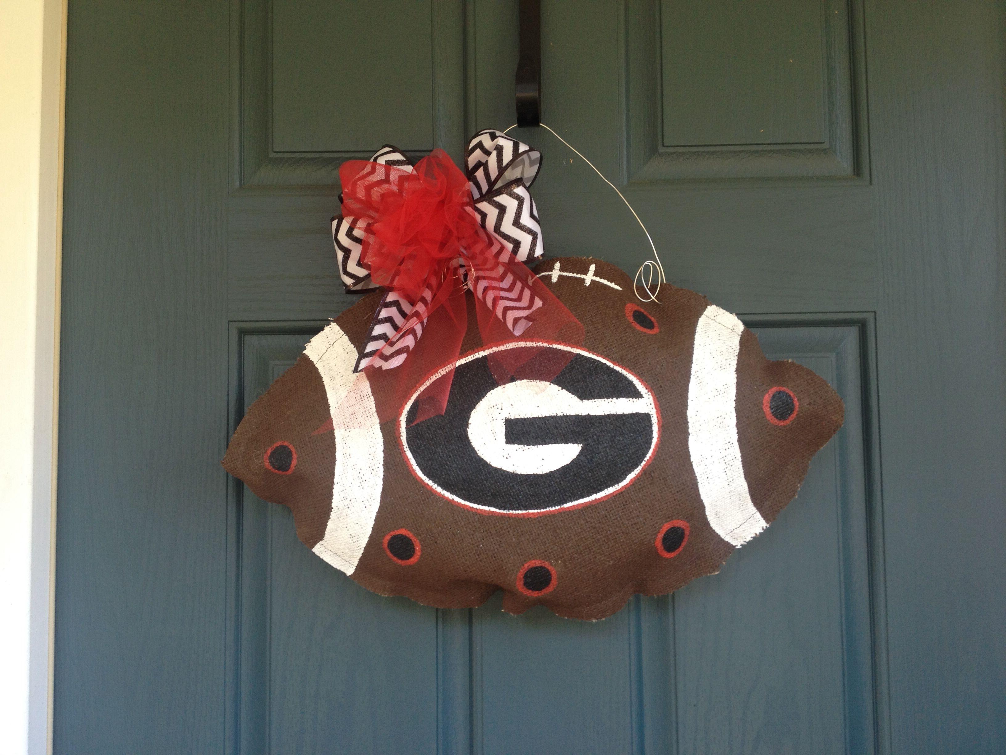 $25 football any school. Burlap door hanger. Find us on Facebook. Sweet burlap.