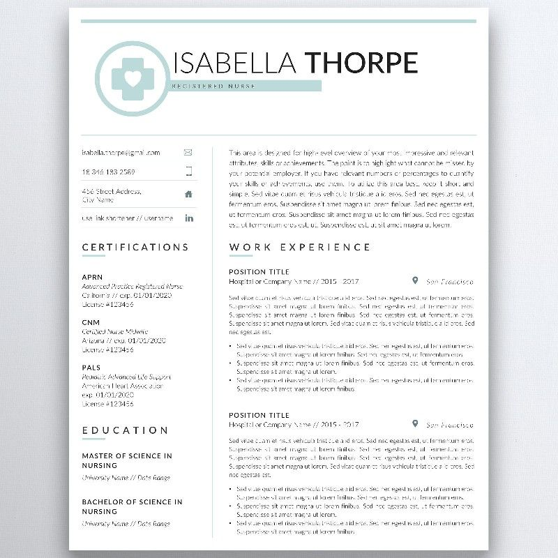Nursing Resume Template 5 Pages | Nurse Resume - Registered Nurse ...