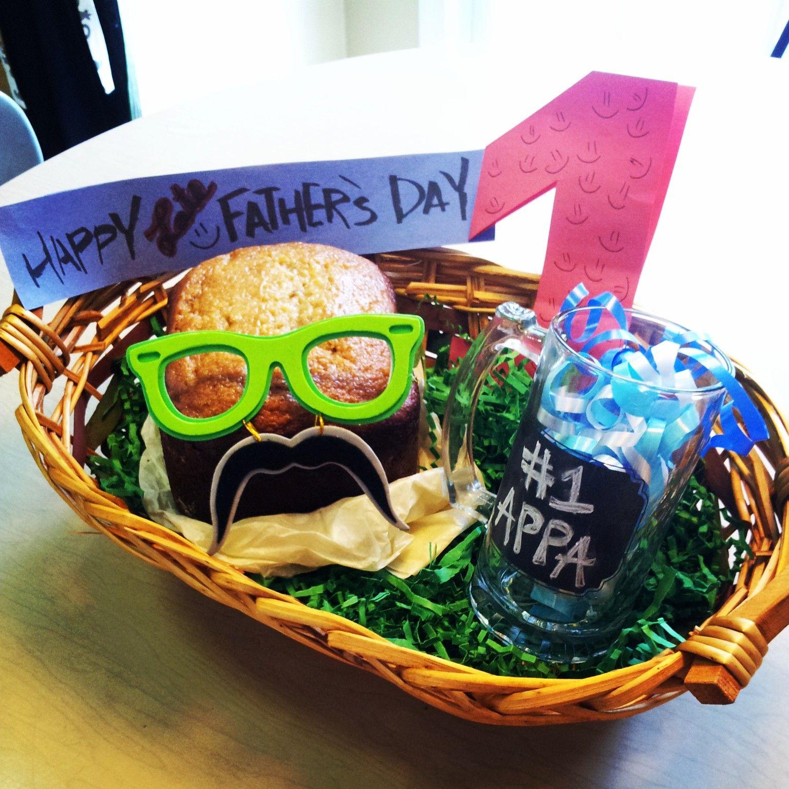 Fathers day goodie basket banana bread chalk beer mug