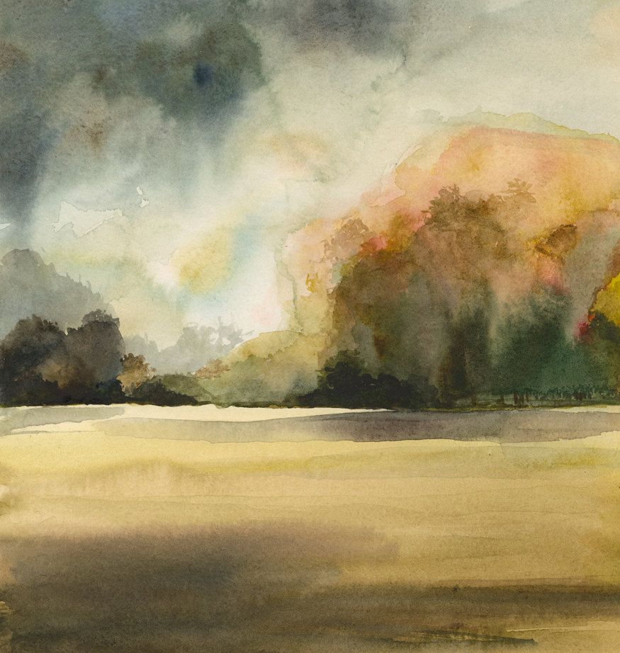 landscape painting, earth tones, natural, decor,watercolor, wall art ...