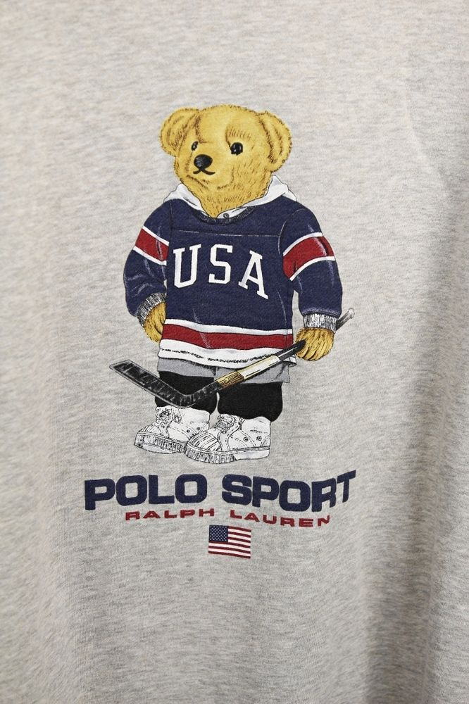 530fa89ac VINTAGE POLO RALPH LAUREN HOCKEY USA POLO BEAR SOFT SWEATSHIRT SZ XL GRAY   RalphLauren  SweatshirtCrew