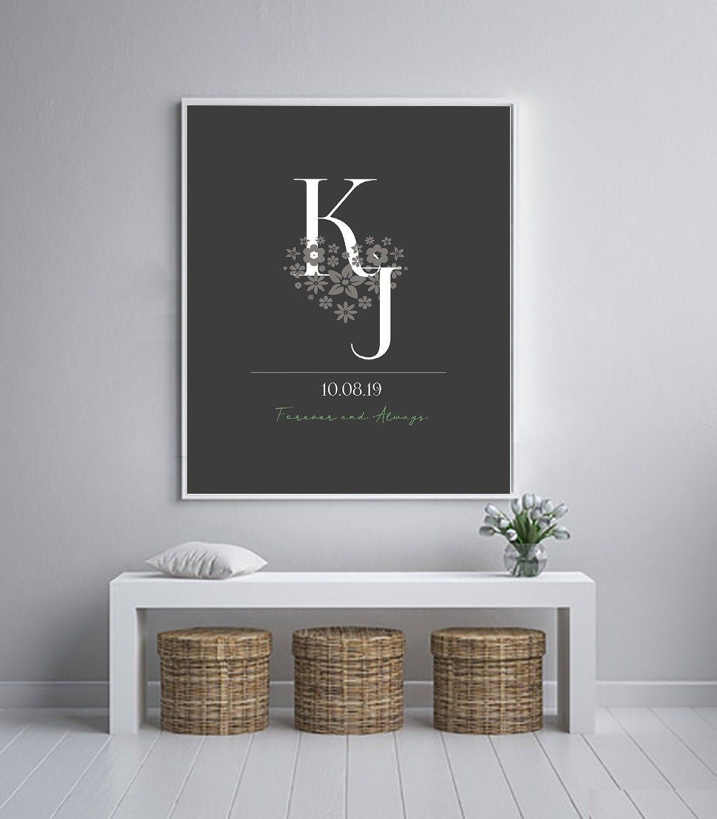 25th anniversary gift for parents monogram gifts 2 letter