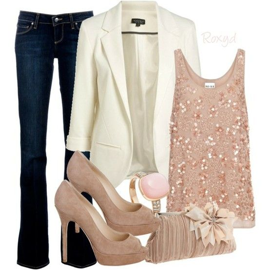 LOVE this. Blush pink with jeans & white blazer. pumps. clutch. ring.