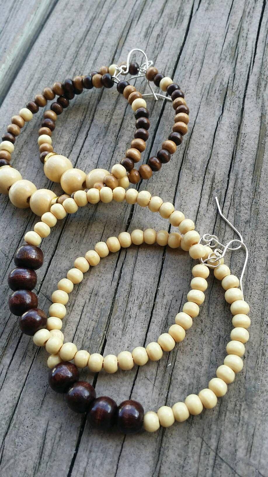 African hoop earrings large wooden bead earrings large