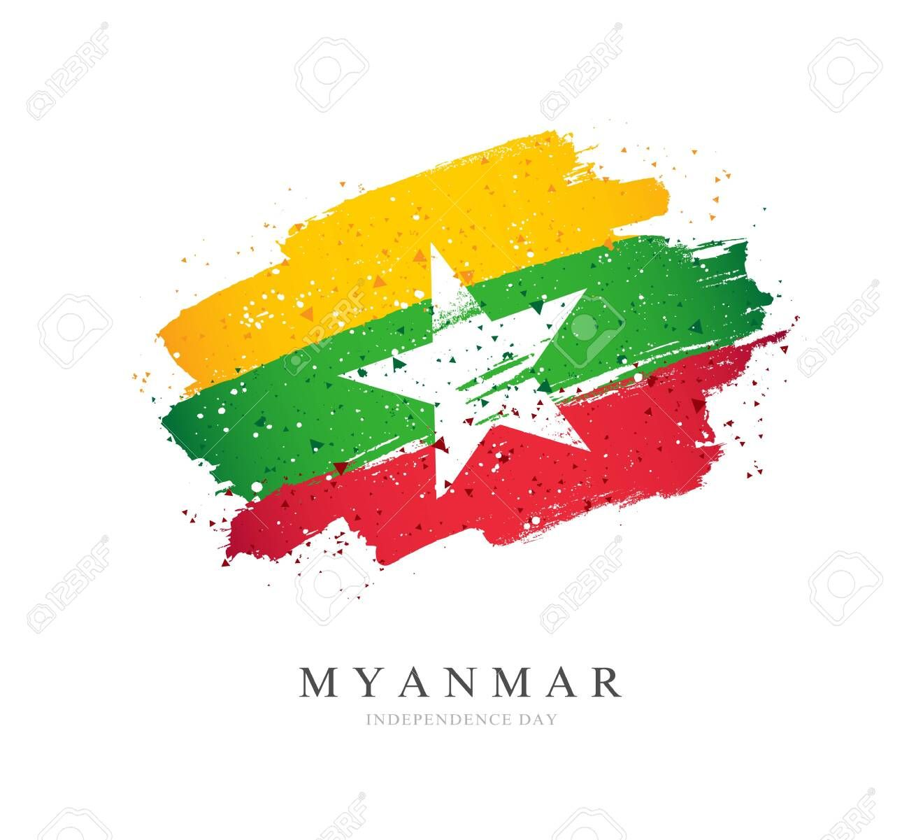 Myanmar Flag Vector Illustration On A White Background Brush Strokes Are Drawn By Hand Independence D In 2020 Graphic Design Logo Modern Graphic Design Myanmar Flag