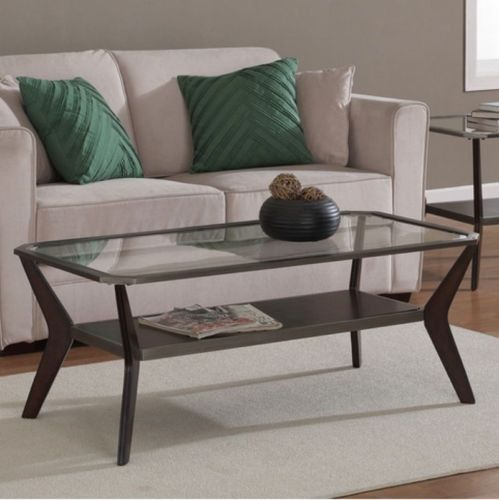 Delightful Transitional Boomerang Coffee Table Clear Tempered Glass Top Living Room  Decor