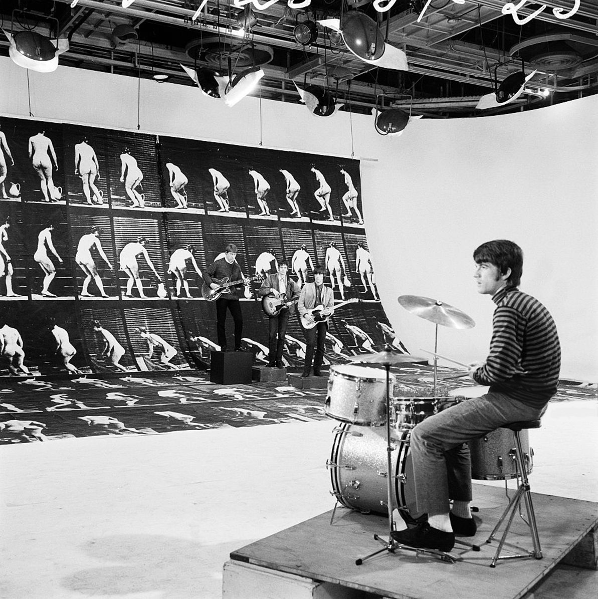 """The Yardbirds at the French TV broadcast (ORTF) for the programme """"Music Hall de France"""", Photo by Louis Joyeux, February 4, 1966"""