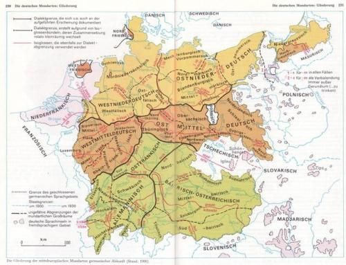 German dialects in 1900 with isoglosses.