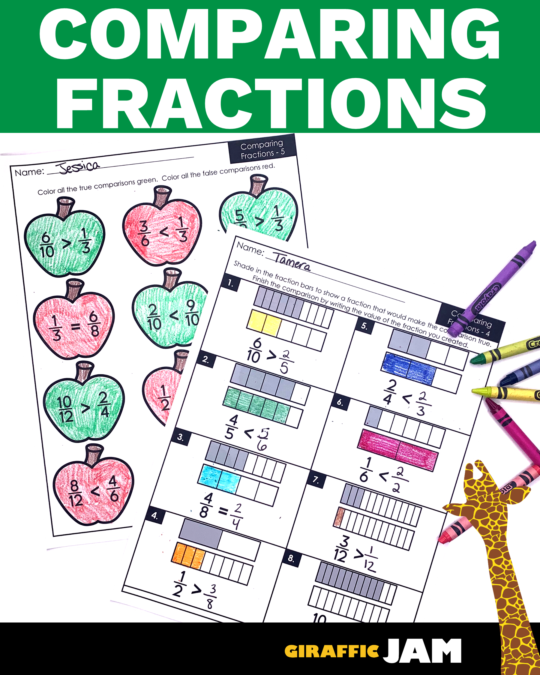 4th Grade Comparing Fractions Worksheets In