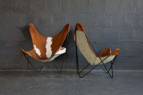 COWHIDE BUTTERFLY LOUNGE CHAIRS (PAIR)