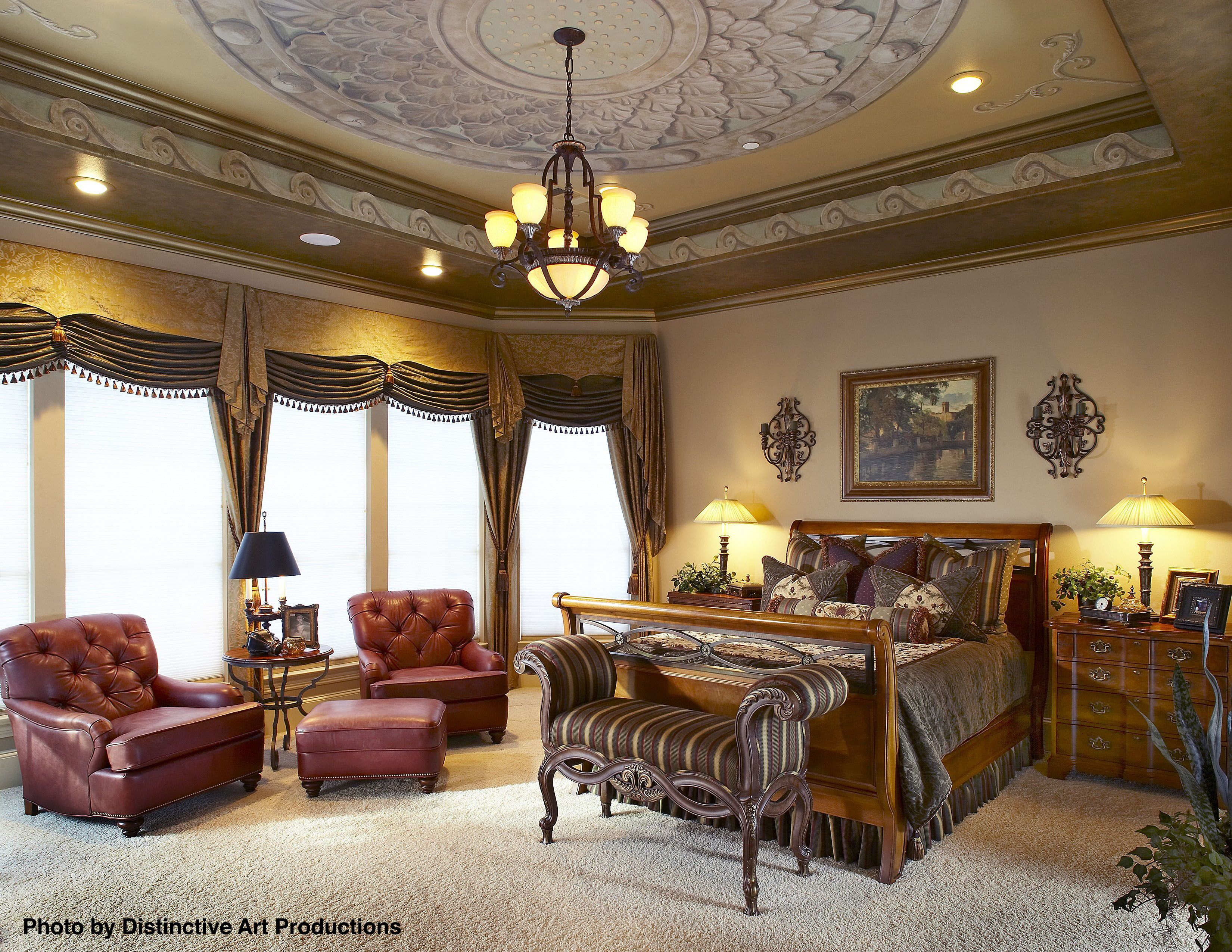 Big traditional bedroom with  fabric valence window covering neo classical designs puffy carpet throughout and floral duvet also interior design costs ideas master rh pinterest