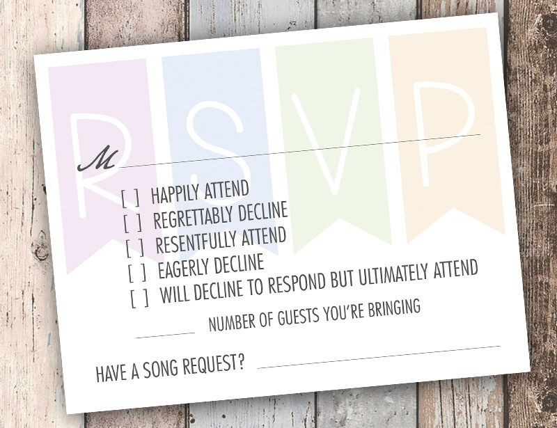 Super funny RSVP card as seen on