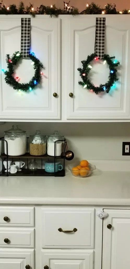kitchen cabinet wreaths christmas kitchen decor christmas home seasonal designs on kitchen cabinets xmas decor id=93625