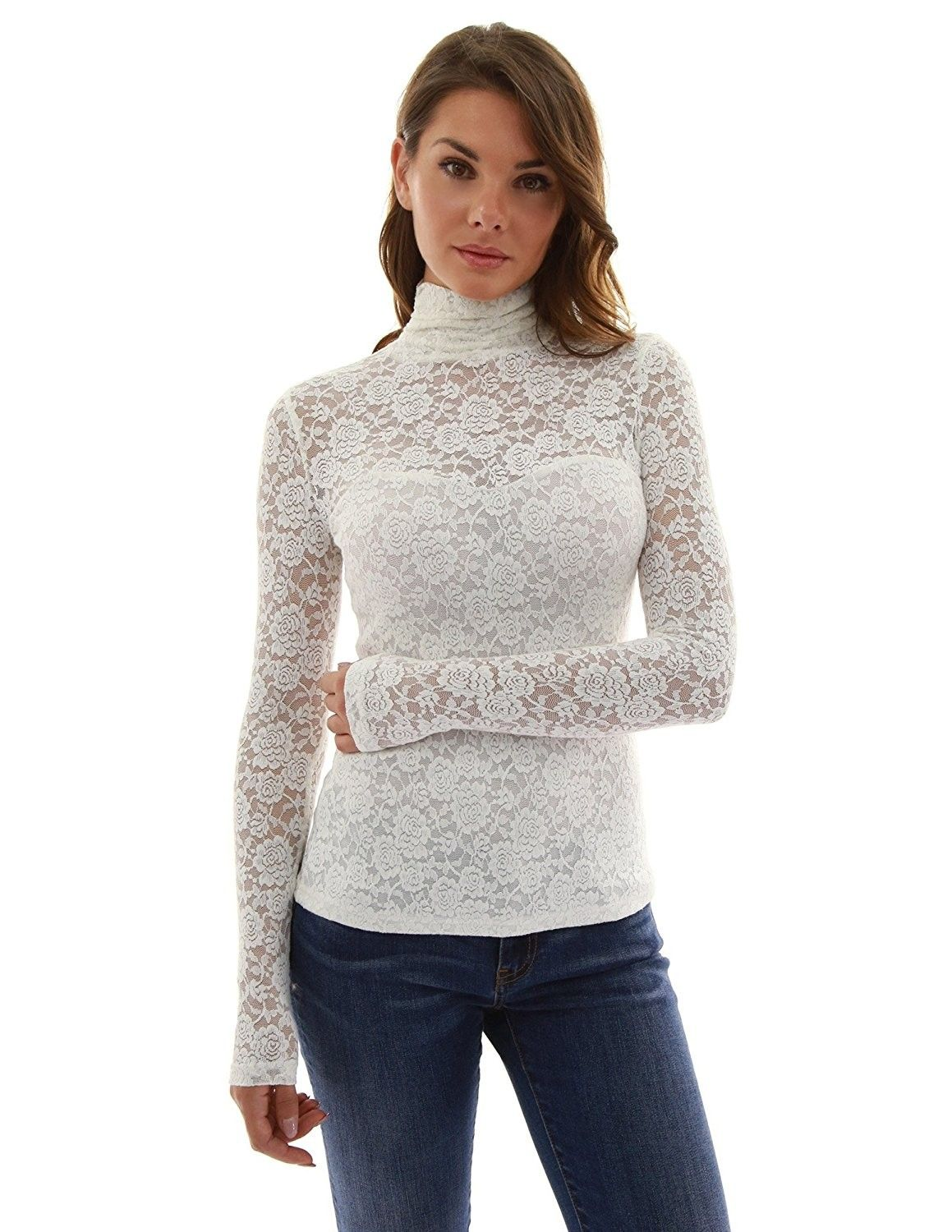 05cd629c Women's Clothing, Tops & Tees, Blouses & Button-Down Shirts, Women's  Turtleneck Sheer Lace Blouse - Off-White - CJ12MY1K085 #Tops #Tees #women  #outfits ...