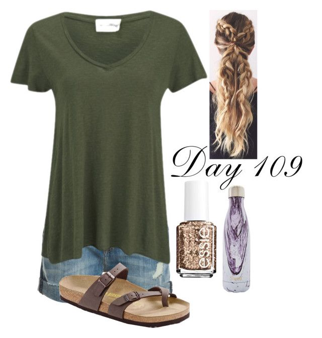 """""""Day 109 of 2016"""" by jasietote ❤ liked on Polyvore featuring Current/Elliott, American Vintage, Birkenstock, S'well and Essie"""