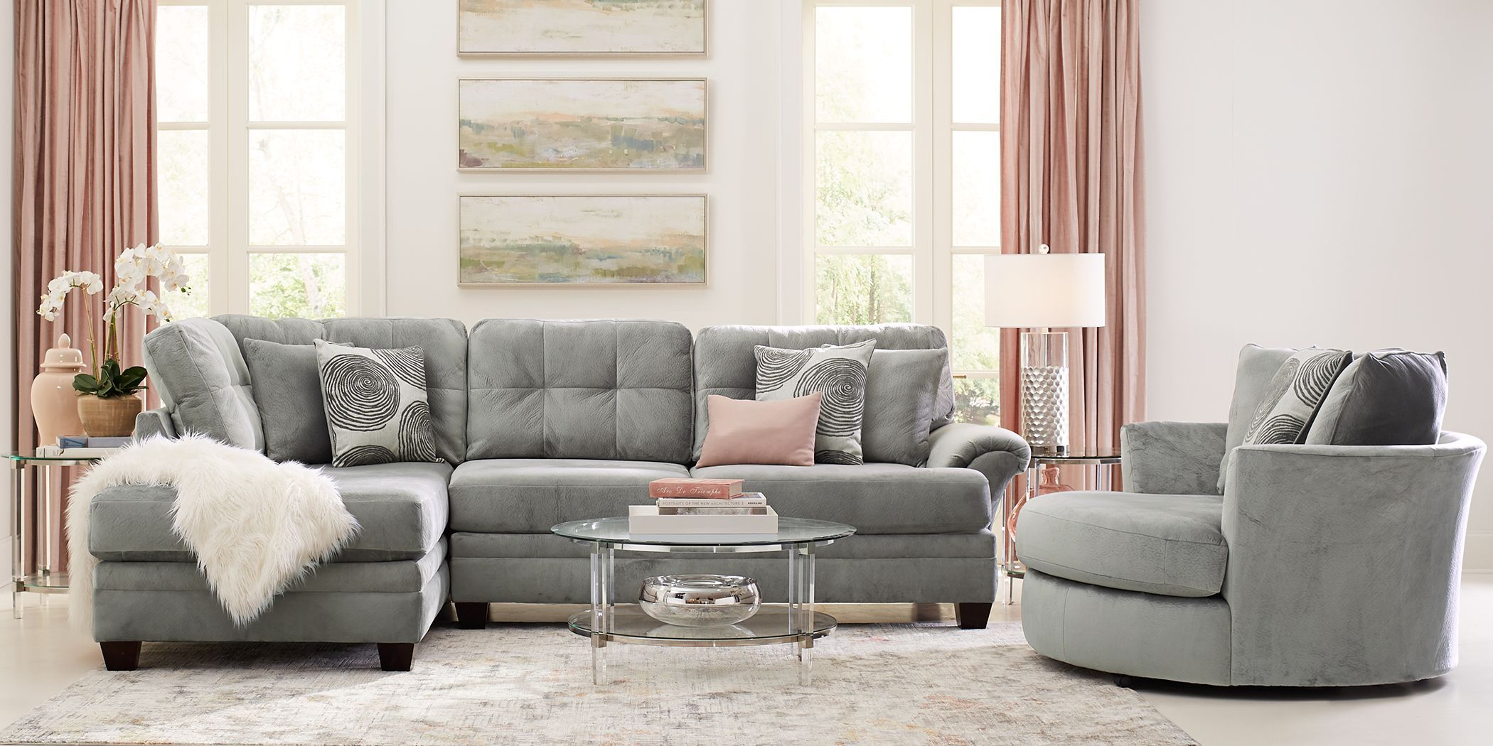 Dharma Place Gray 2 Pc Sectional Rooms To Go Living Room Sets