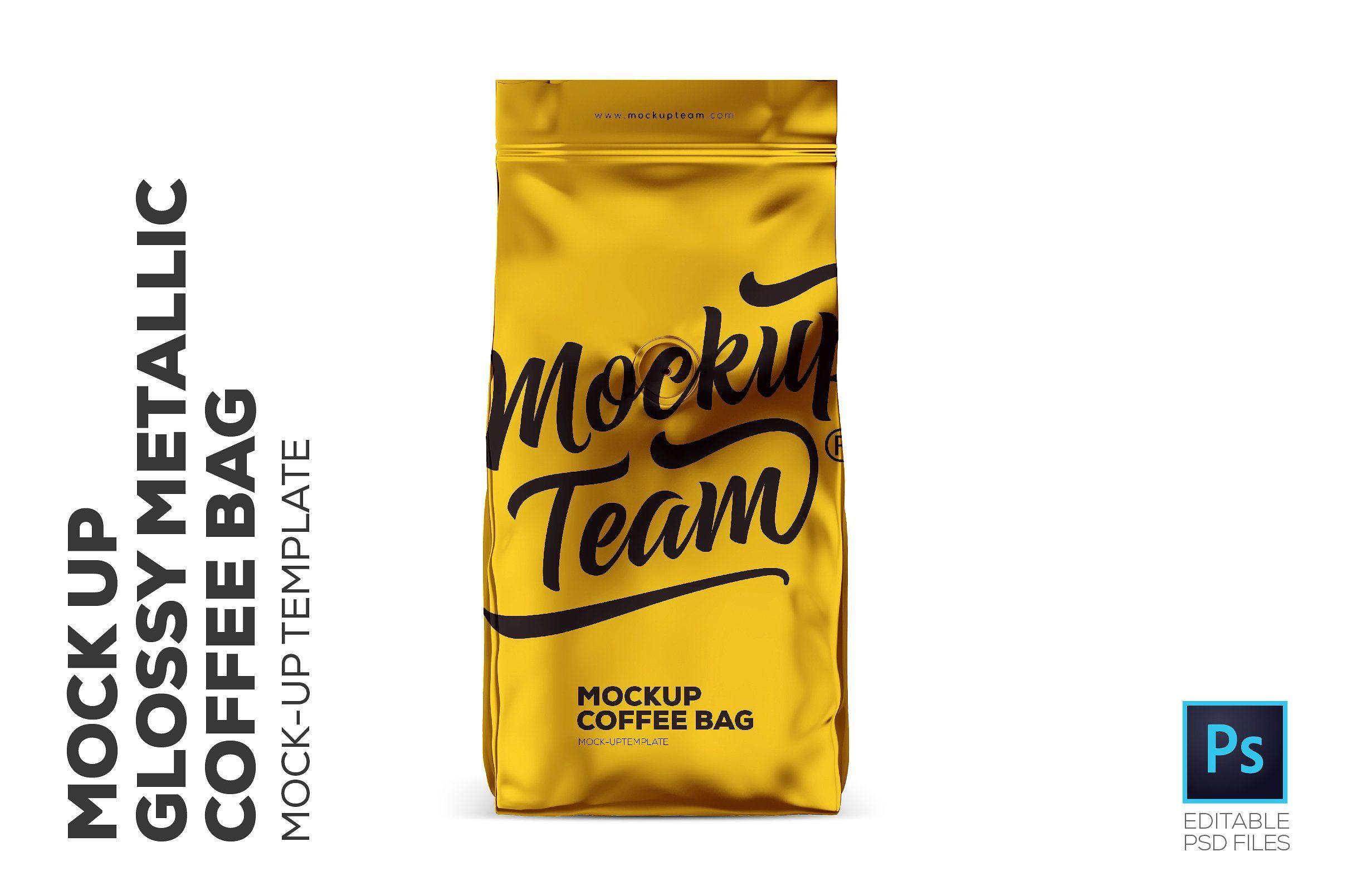 Download Glossy Metallic Coffee Bag Mockup Background Place Clean Transparent Bag Mockup Coffee Bag Mockup Free Psd
