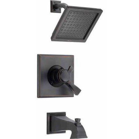 Delta Dryden Dual Function Pressure Balanced Bath and Shower Trim with H2Okinetic Shower Head and Integrated Volume Control Less Rough-in, Available in Various Colors, Bronze