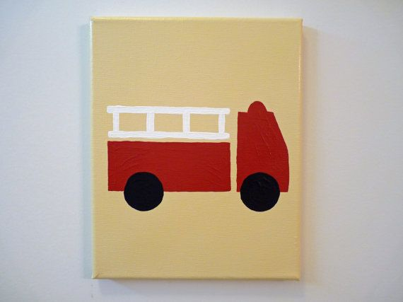 Fire+Truck+Engine+painting+on+canvas+for+boy\'s+room+by+PainterTots ...