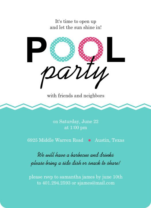 This modern pool party invitation is embellished with water floaty - pool party flyer template