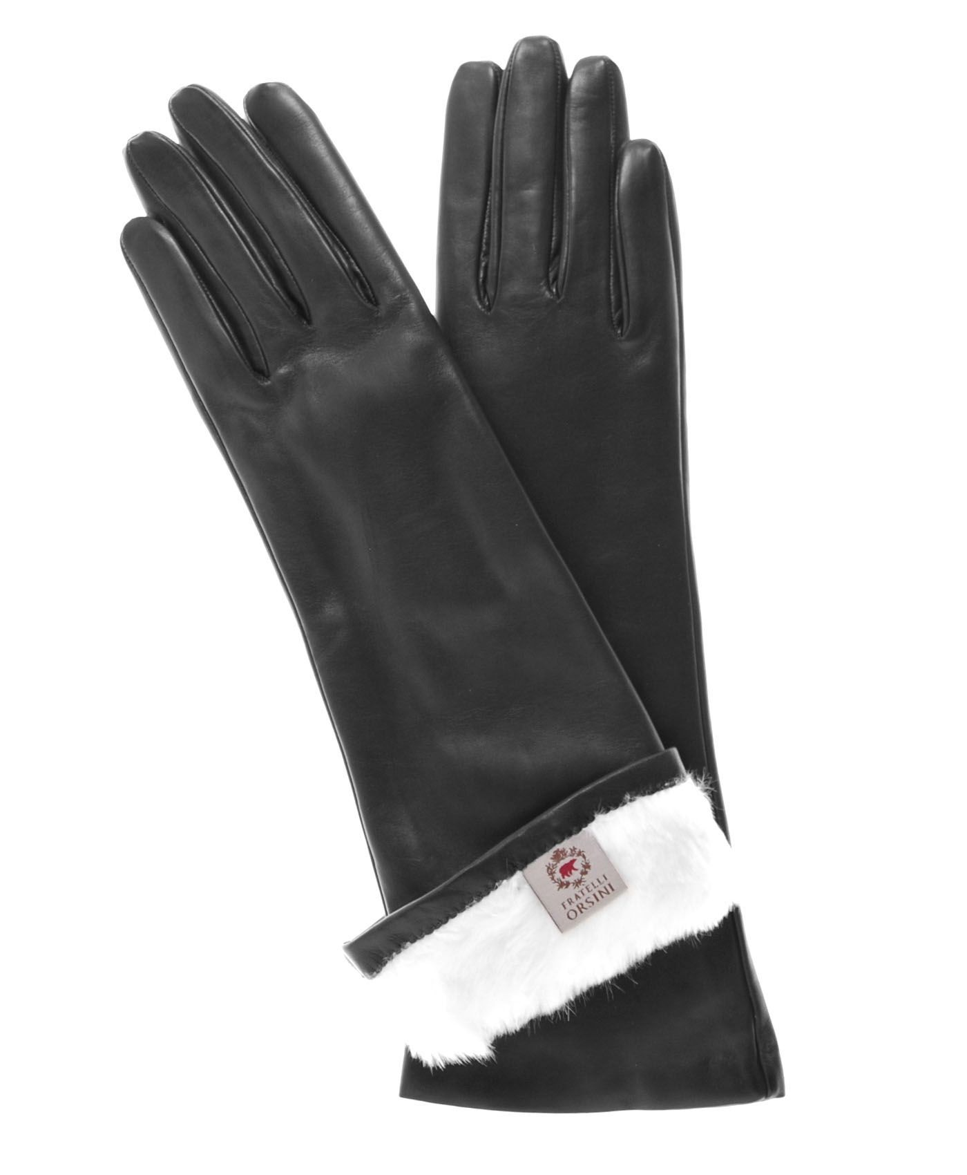 Black leather gloves with fur - Leather