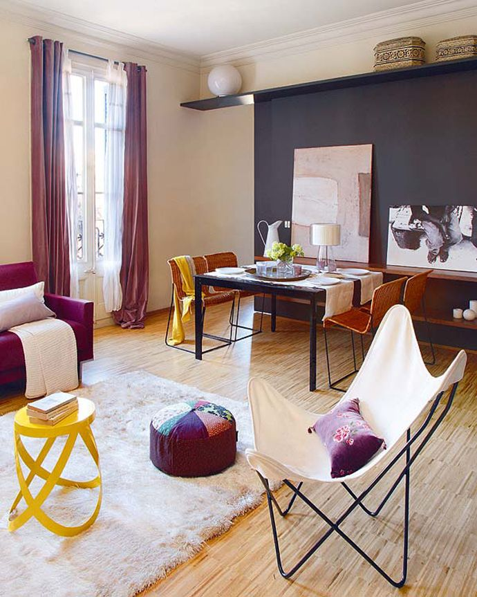 Bright and Eclectic living room. Yellow, maroon, black ...