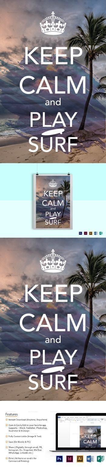 Keep Calm And Surf Poster Template Surfing Commercial Printing