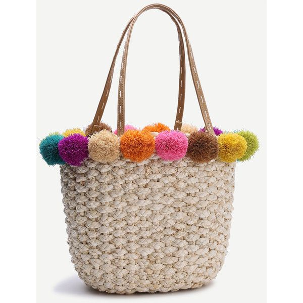 Beige Pom Trim Straw Tote Bag 33 Liked On Polyvore Featuring