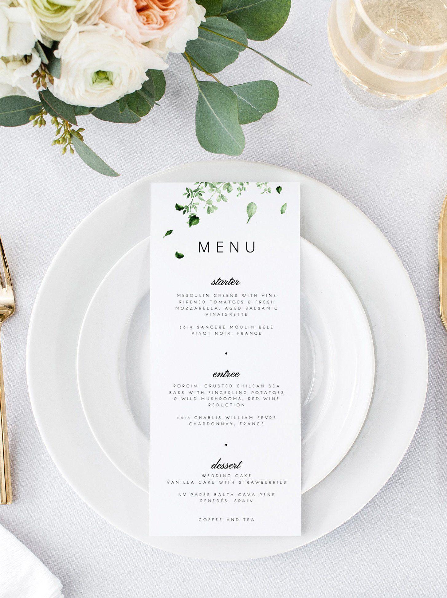 Greenery Wedding Menu Wedding Menu Template Botanical Green Leaves Menu Cards Printable Dinner Menu Templett Editable Instant Download 05 #weddingmenutemplate