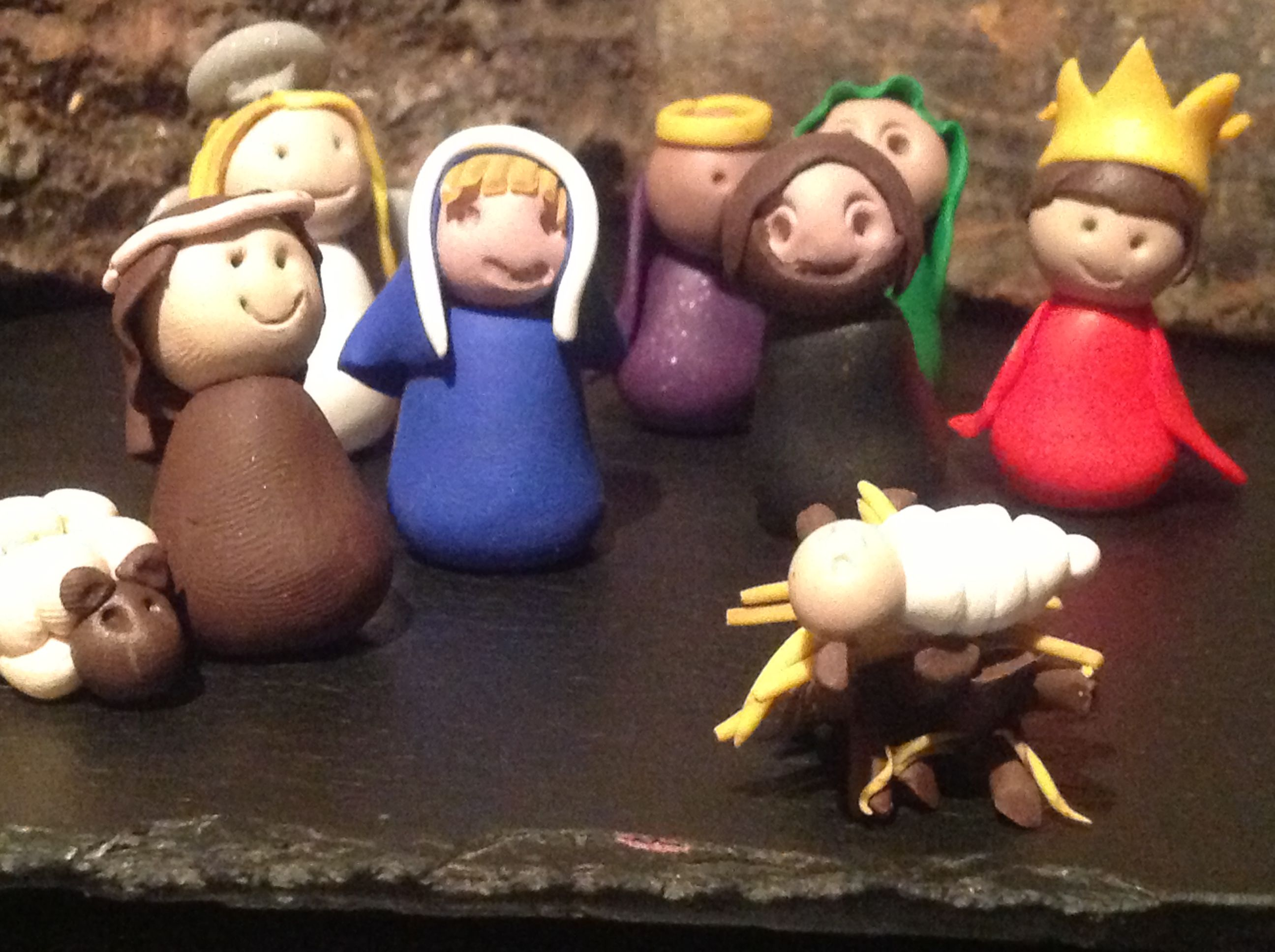 Christmas nativity scene made from FIMO with the kids. Will add some more bits to it this year
