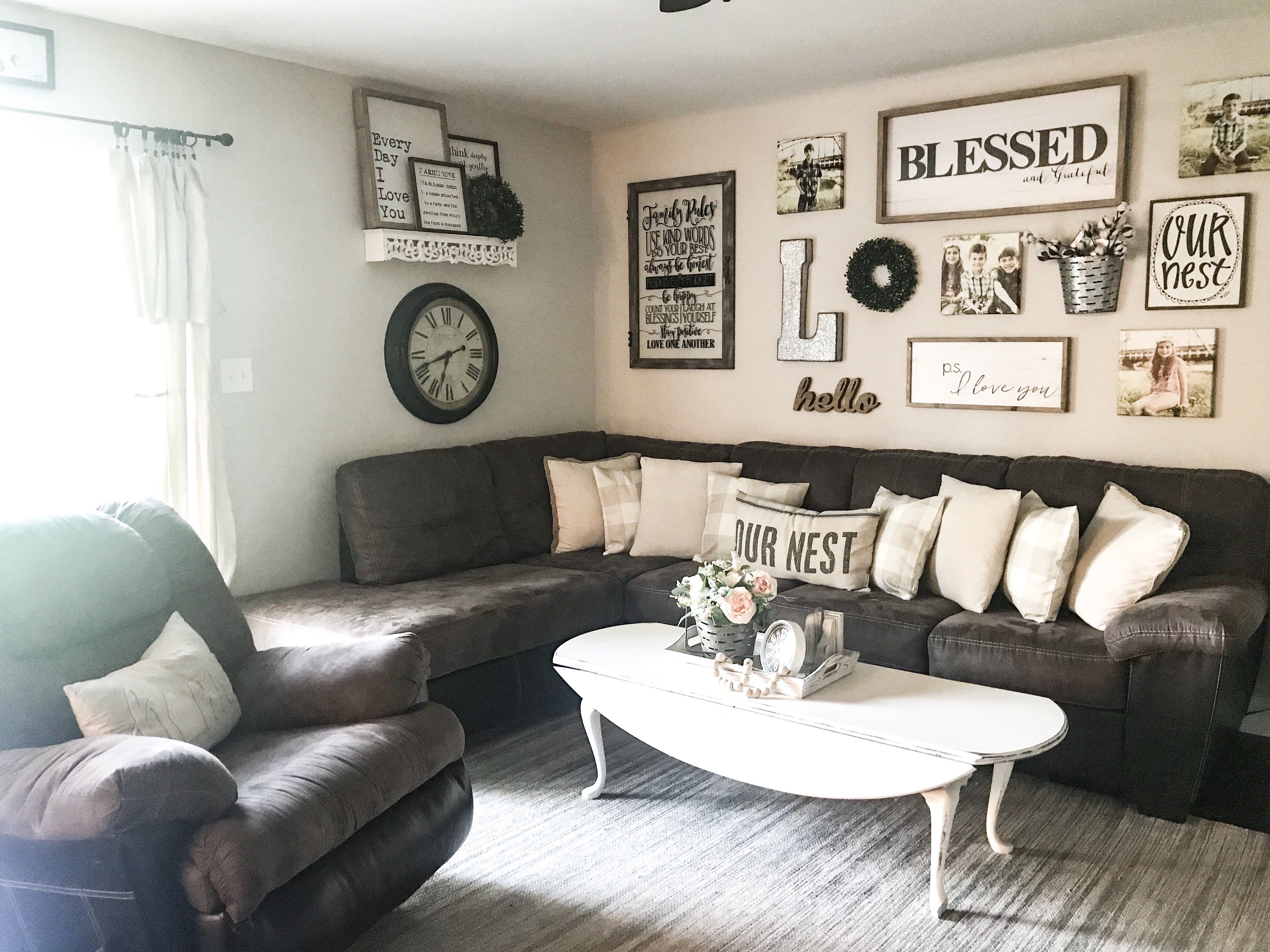 One Sofa Living Room Ideas Anthropologie Farmhouse Style Throw Pillows Rooms Simply Junkin With Dark Furniture Gallery Wall A Brown