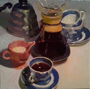 "Jumpin' Java by Dennis Perrin Oil ~ 12"" x 12"""