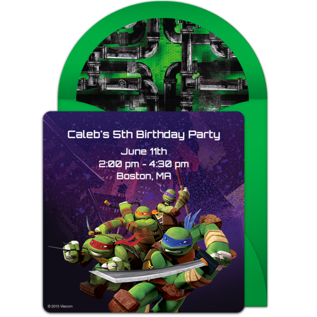 Turtle Birthday Customizable Free TMNT Adventure Online Invitations Easy To Personalize And Send For A Ninja