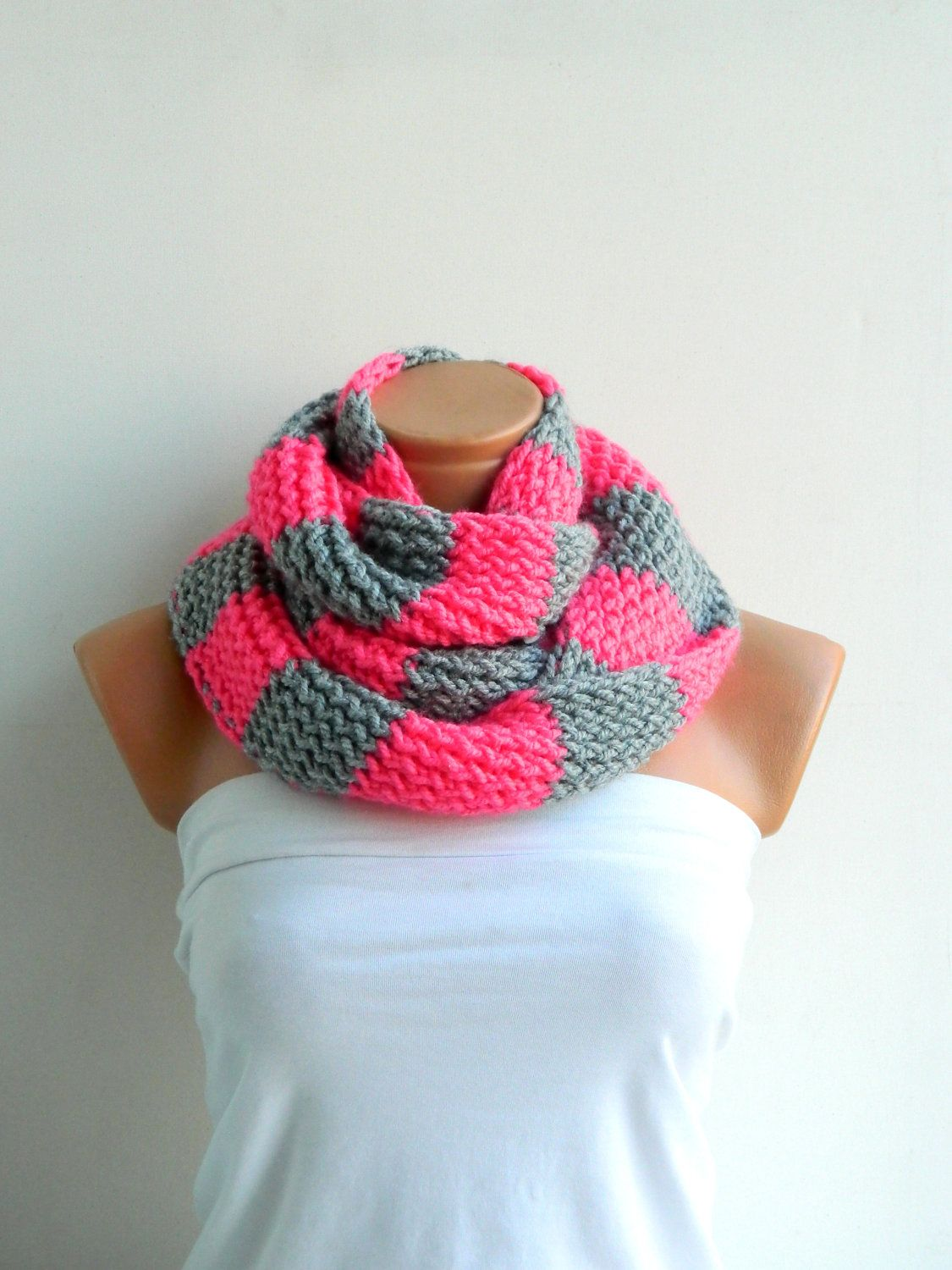 candy pink infinity scarf.Hand Knit Striped Gray and Pink Hand knitt ...