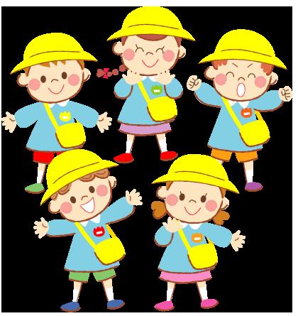 園児服姿のかわいい幼稚園児のイラスト 家族ファミリー町の
