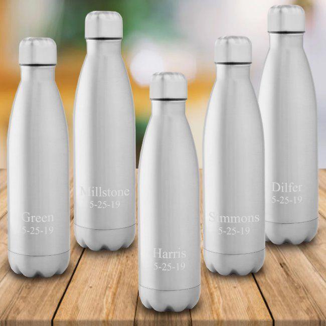 Set of 5 White Stainless Steel Water Bottles