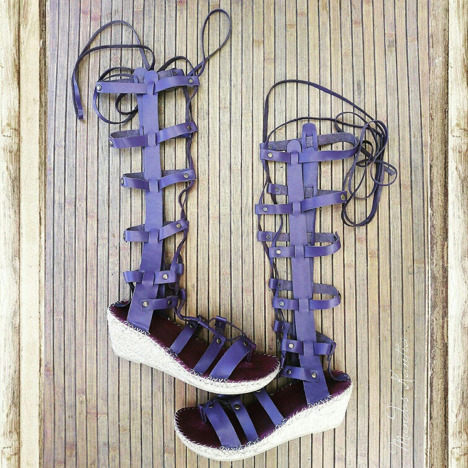 Sandal Espadrille Roman Style Cu A Esparto High Wedge Heel  # Muebles Rodilla