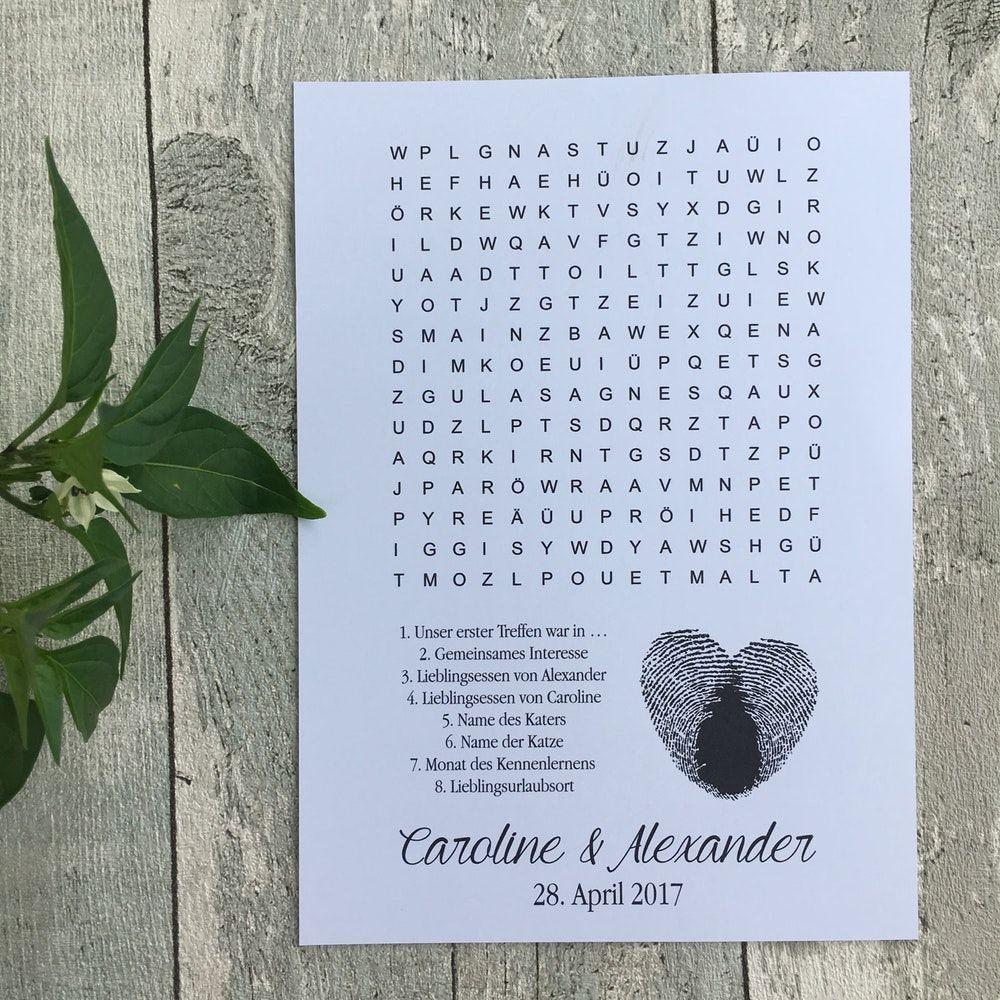 Hochzeitsrätsel Herz | Hochzeitspiele & -zeitung #weddingfall