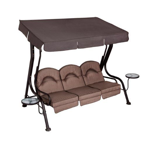 Living Accents 3 Person Deluxe Canopy Swing with Movable Side Tables LIVING ACCENTS  sc 1 st  Pinterest : porch glider with canopy - memphite.com