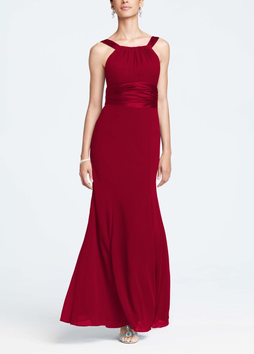 0b728d33790 Chiffon and Charmeuse Dress with Rounded Neckline - David s Bridal - mobile  f12732 comes in plum!