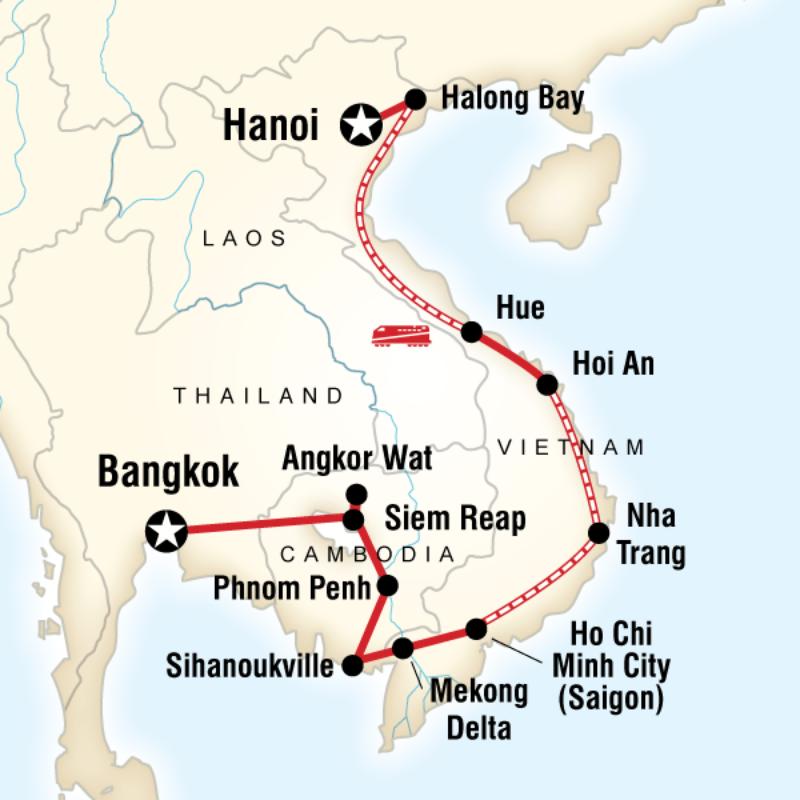Karte Thailand Kambodscha.Karte Der Route Für Asien Erleben Vietnam Reise Vietnam Und