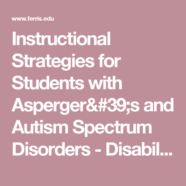Instructional Strategies For Students With Aspergers And Autism
